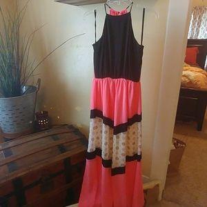 royal t Dresses - Bright Pink amd Black Dress